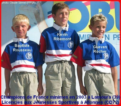 Champion de France pétanque triplettes minimes en 2003 à Lamoura