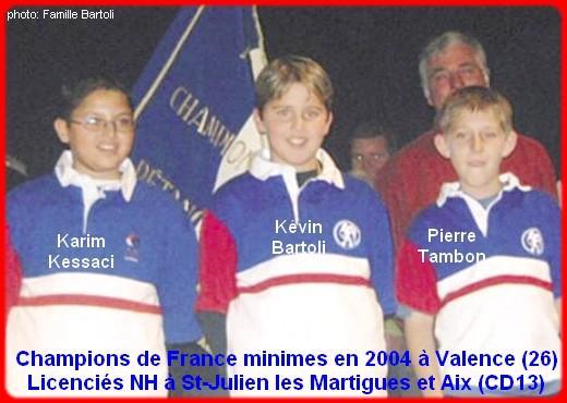Champions de France pétanque triplettes minimes en 2004 à Valence