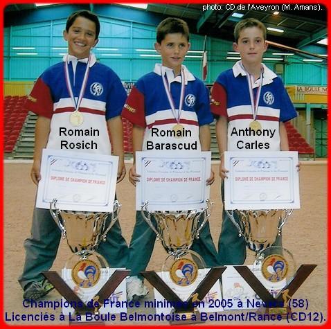 Champions de France pétanque triplettes minimes en 2005 à Nevers