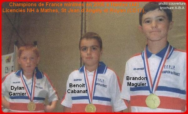 Champions de France pétanque triplettes minimes en 2006 à Nantes