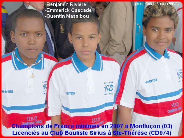Champions de France pétanque triplettes minimes en 2007 à Montluçon