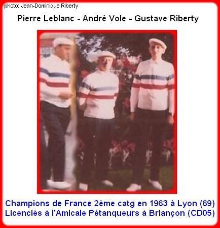 champions de France triplette (2ème catg) en 1964 à Epinal