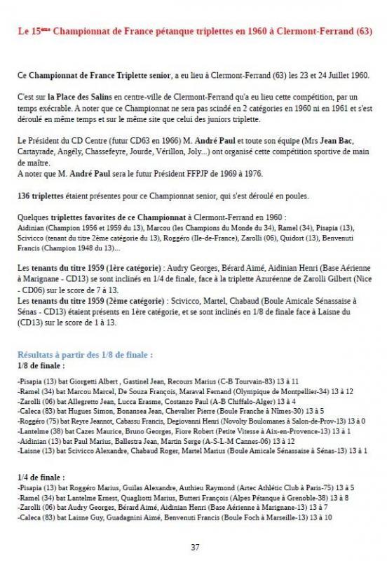 Page 1 chpt de france pétanque 1960